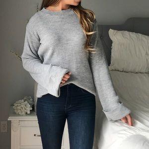 BOOHOO Gray Bell Sleeve Sweater